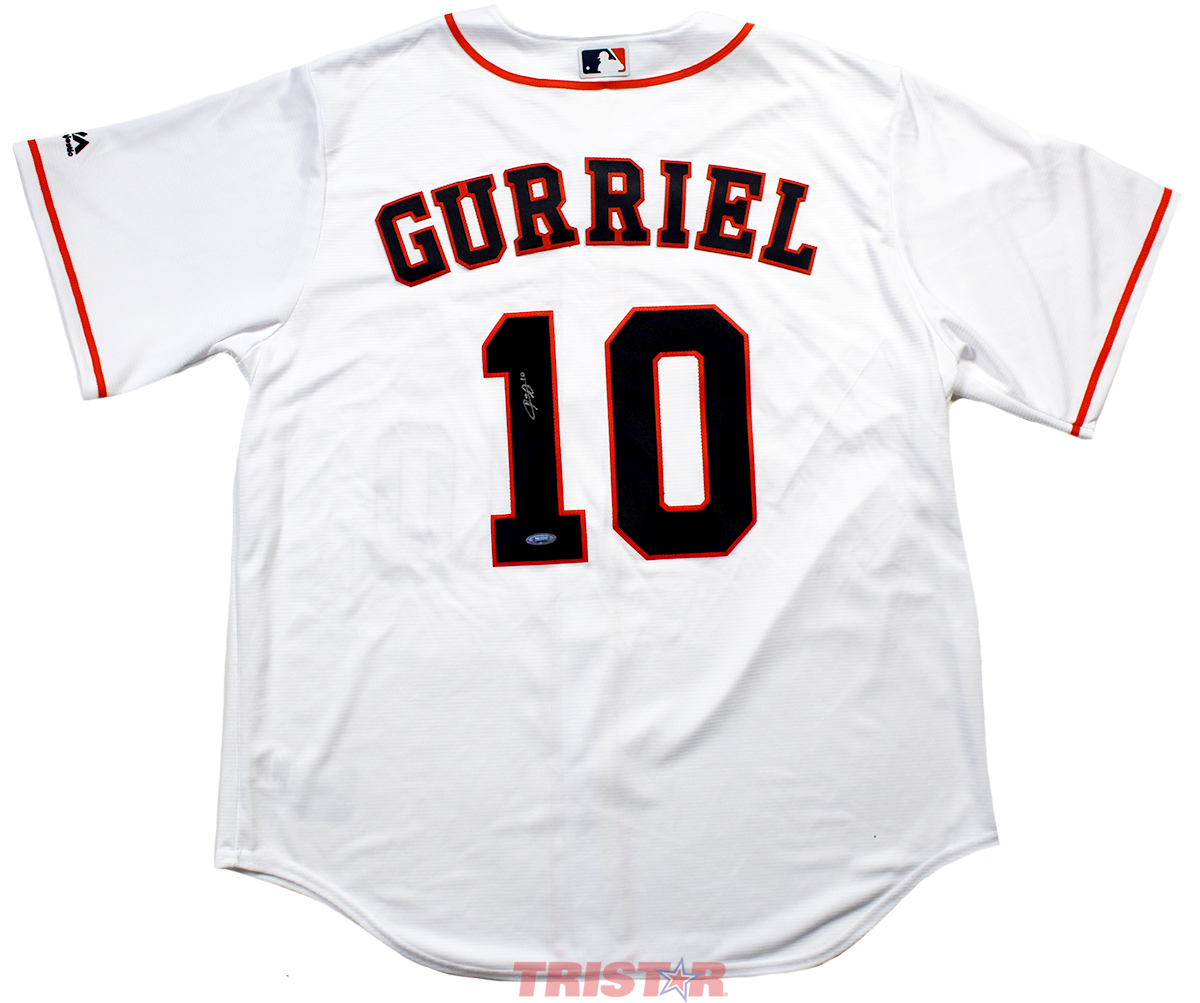 buy popular 974b3 7b3bc Yuli Gurriel Autographed Houston Astros White Replica Jersey
