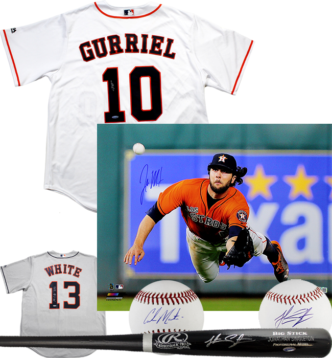 best service 0deea 04740 Yuli Gurriel & Jake Marisnick Autographed Astros Jersey & 16x20 Photo + More