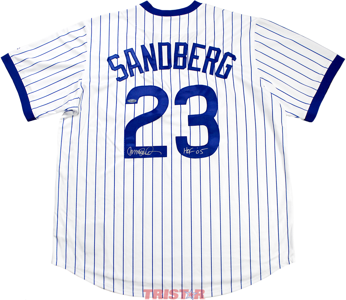 brand new 6e9da b4996 Ryne Sandberg Autographed Chicago Cubs Replica Jersey Inscribed HOF 05