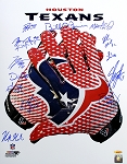 Houston Texans Autographed Glove 16x20 with 17 Signatures