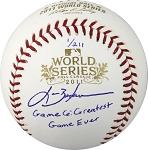Lance Berkman Autographed 2011 WS Baseball - GM 6 Greatest Game Ever