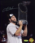 Lance Berkman Autographed 2011 World Series Trophy 8x10 Photo