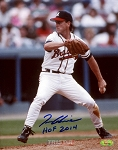 Tom Glavine Autographed Braves 8x10 Photo Inscribed HOF 2014