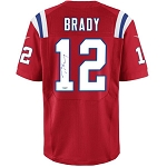 Tom Brady Autographed New England Patriots Nike 'Elite' Red Authentic Jersey