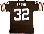 Jim Brown Autographed Cleveland Browns M&N Throwback Jersey Inscribed HOF 71