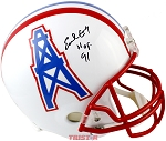 Earl Campbell Autographed Houston Oilers Authentic Helmet Inscribed HOF 91