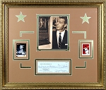 Joe DiMaggio Autographed Yankee Clipper Enterprises Check & Cards - Framed