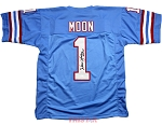 Warren Moon Autographed Houston Oilers Custom Jersey HOF 06