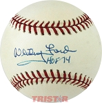 Whitey Ford Autographed American League Baseball Inscribed HOF 74