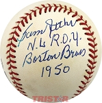 Sam Jethroe Autographed NL Baseball Inscribed NL ROY Boston Braves 1950