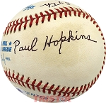 Paul Hopkins Autographed AL Baseball Inscribed Pitched Babe Ruth's 59th HR