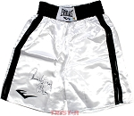 Tommy 'Hitman' Hearns Autographed Everlast White Boxing Trunks