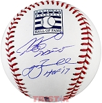 Jeff Bagwell & Craig Biggio Autographed Hall of Fame Logo Baseball Inscribed HOF