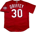 Ken Griffey Jr. Autographed Cincinnati Reds Throwback Mitchell & Ness Jersey Inscribed HOF 16
