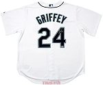 Ken Griffey Jr. Autographed Seattle Mariners White Majestic Jersey Inscribed HOF 16