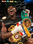 Floyd Mayweather Autographed Holding Belts 8x10 Photo