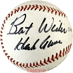Hank Aaron Autographed Vintage Baseball Inscribed Best Wishes PSA Grade 7.5