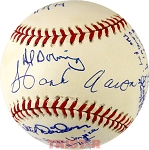 Aaron, Davidson, Downing & House Autographed NL Baseball Inscribed 715 & More