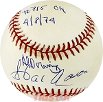 Hank Aaron & Al Downing Autographed NL Baseball Inscribed 715th HR 4/8/74