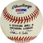 Richie Ashburn Autographed Official National League Baseball Inscribed Whiz Kids