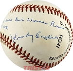 Woody English Autographed Baseball Inscribed 'Babe Ruth did not call his H.R. in 1932 W.S.'