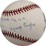 Woody English Autographed Vintage National League Baseball with Ruth 1932 WS Inscription