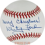Whitey Ford Autographed Official AL Baseball Inscribed Merry Christmas!