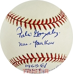 Pedro Gonzalez Autographed NL Baseball Inscribed New Yankees 1963 & 1964 AL Champs