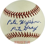 Pete Wyshner Autographed American League Baseball Inscribed Pete Gray