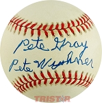Pete Gray Autographed American League Baseball Inscribed Pete Wyshner