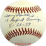 Harvey Haddix Autographed Official NL Baseball Inscribed 12 Perfect Innings