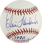 Elrod Hendricks Autographed Official Major League Baseball Inscribed 1970 World Champs