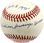Billy Herman Autographed National League Baseball Inscribed with Full Name, HOF 1975