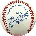Willis Hudlin Autographed Baseball Inscribed Babe Hit Only 5HRs & His 500th HR Off Me