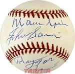 Warren Spahn & Johnny Sain Autographed NL Baseball Inscribed Pray for Rain