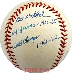 Bill Stafford Autographed AL Baseball Inscribed NY Yankees 1960-65 World Champs 1961-62
