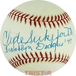 Clyde Sukeforth Autographed Official NL Baseball Inscribed Brooklyn Dodgers