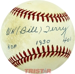 WH Bill Terry Autographed Official NL Baseball Inscribed HOF, 1930 .401