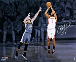 Chris Paul Autographed Houston Rockets Spotlight 3PT Over Curry 16x20 Photo