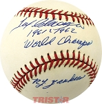 Tex Clevenger Autographed Official AL Baseball Inscribed 1961 & 1962 WC Yankees