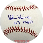 Bob Heise Autographed Official Major League Baseball Inscribed 69 Mets