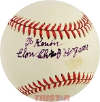 Elon 'Chief' Hogsett Autographed Official American League Baseball Inscribed To Kevin