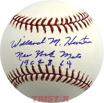 Willard Hunter Autographed Official Major League Baseball Inscribed New York Mets 1962, '64