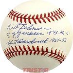Bill Johnson Autographed American League Baseball Inscribed NY Yankees 1943-46-51, St. Louis Cardinals 1951