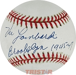 Vic Lombardi Autographed Baseball Inscribed Brooklyn 1945-47