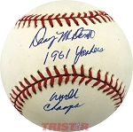 Danny McDevitt Autographed NL Baseball Inscribed 1961 Yankees, World Champs