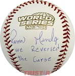 Ramiro Mendoza Autographed 2004 World Series Baseball Inscribed We Reversed The Curse