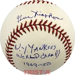 Gus Niarhos Autographed Baseball Inscribed NY Yankees World Champs 1949-50