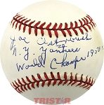 Joe Ostrowski Autographed AL Baseball Inscribed NY Yankees World Champs 1950-52