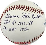 Clarence Ace Parker Autographed Baseball Inscribed A's 1937-38 FB HOF 1972